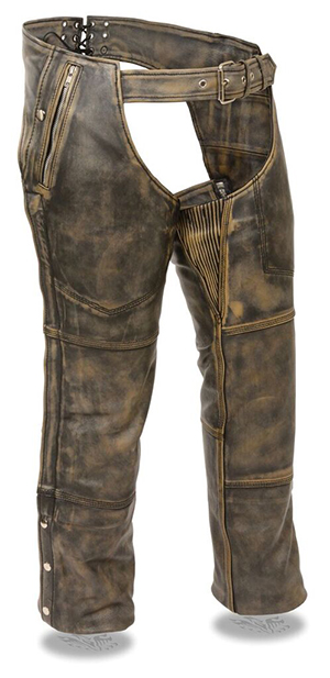 Shaf Distressed Brown Chaps